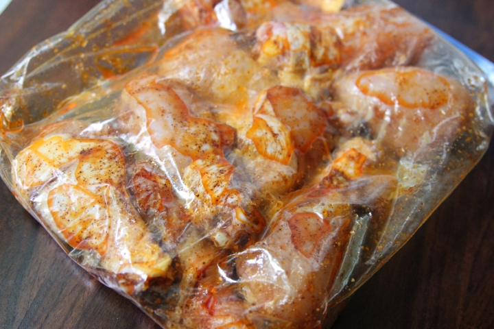 Add chicken and marinade together in ziplock bag