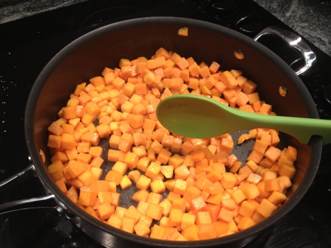 Sautee butternut in oil or butter until brown edges form. Medium to high heat.